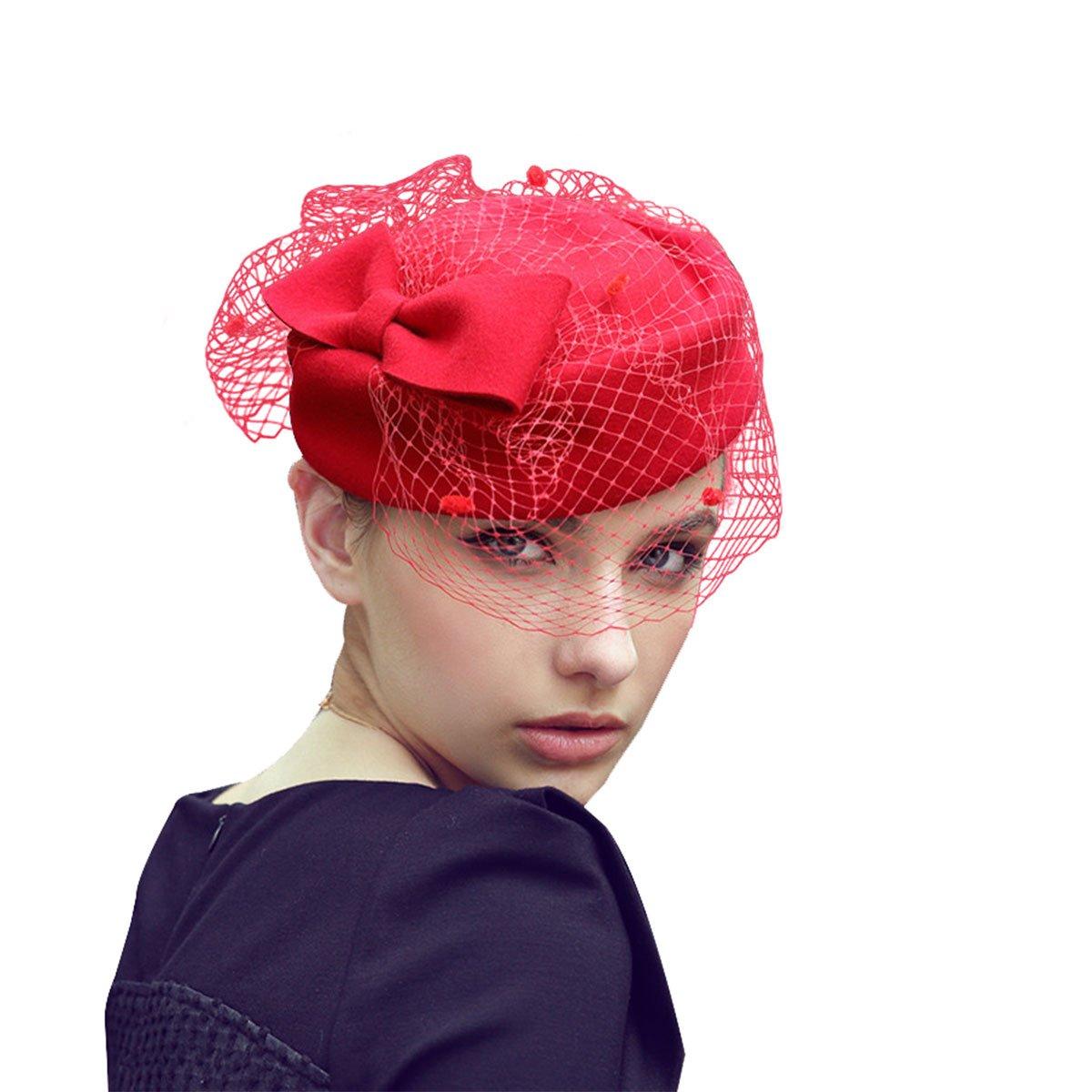 Lawliet Womens Wool Fascinator Retro Pillbox Hat Wool Felt Cocktail Party Wedding Bow Veil A080Black