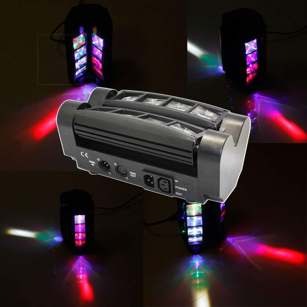 UKing Luci della scena ragno DMX512 Mini Luci Di Rotazione RGBW LED Lampada per a festa di Compleanno di DJ Disco Wedding Bar Club