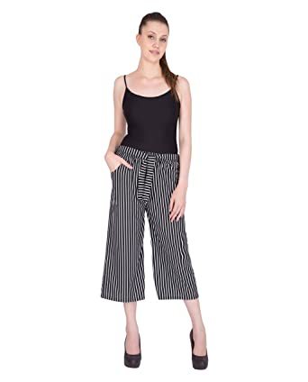 efd0fdc0213 Culottes For Women Western Wear, Black Pin Stripes on White Wanda, Trousers  For Women Western Wear, By FflirtyGo: Amazon.in: Clothing & Accessories