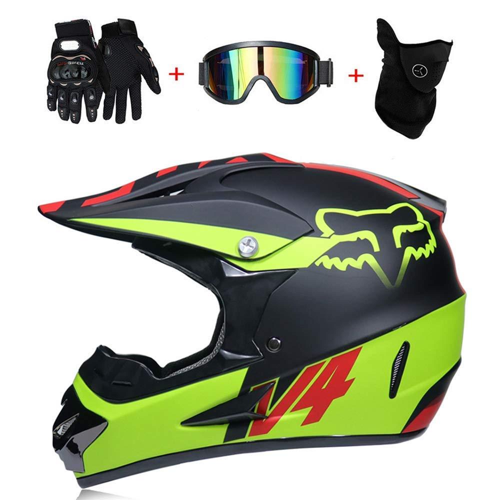 Extremes Fahrrad Unisex,FoxV4,L59~60CM AA-Helmet TOKU Doppelter Sport-ATV-Motocross-Helm D.O.T-Standard Fox-Rock Off-Road-Star-Downhill-Schutzhelm