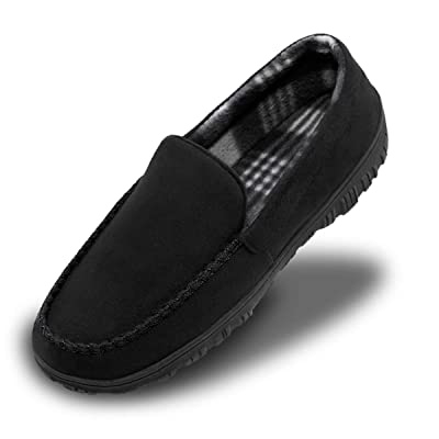 Shoeslocker Men's Microsuede Moccasin Slippers Memory Foam House Shoes: Clothing