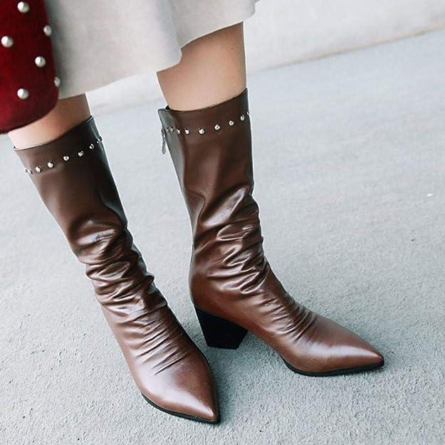 f2df6f746 Zanpa Mujer Elegante Botas Medias Block Medio Talón Botas Altas Cremallera  Punta Puntiaguda Zapatos Fiesta Sintético Cuero Brown Talla 36  Amazon.es   ...