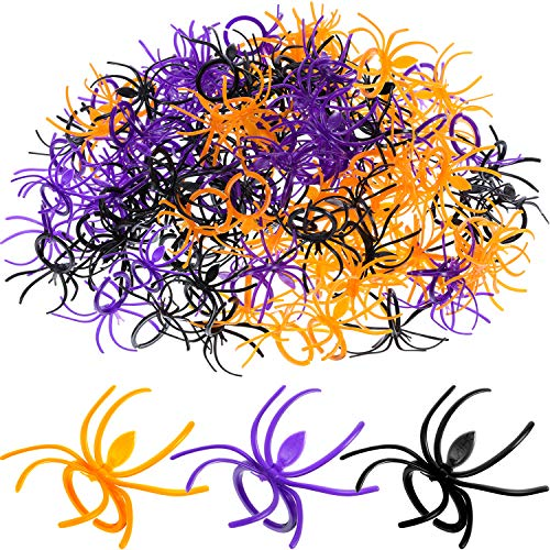 Boao 120 Pieces Spider Rings Plastic Cupcake Topper Halloween Party Favors (Multicolor)