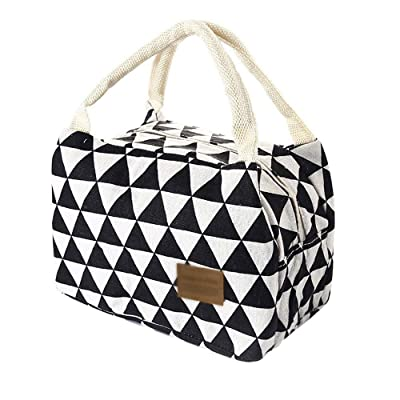 Women Men Kids Insulated Lunch Bag - Cute Portable Canvas Tote Bag Thermal Cooler Food Lunch Bags Sandwich Work Container (Black 1, 211415cm): Kitchen & Dining