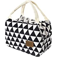 Women Men Kids Insulated Lunch Bag - Cute Portable Canvas Tote Bag Thermal Cooler Food Lunch Bags Sandwich Work Container (Black 1, 211415cm)