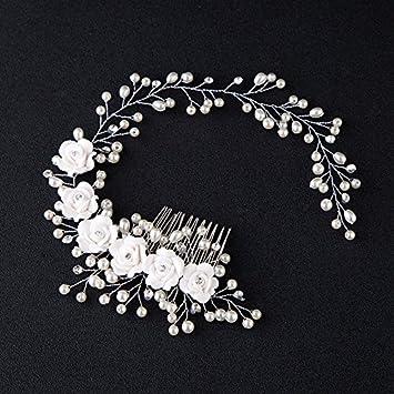 Unicra novia boda peine plata flor tocado novia vestido de novia perla accesorios para mujeres y ni/ñas
