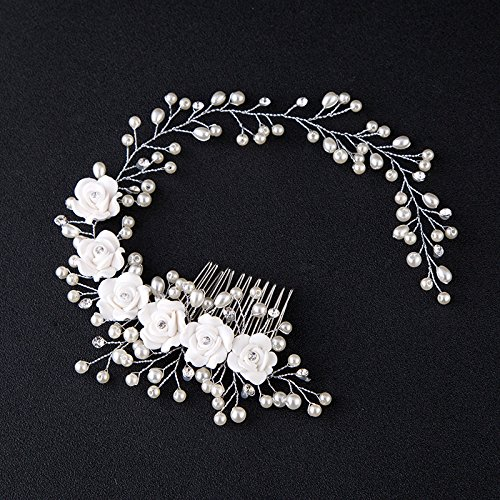 Kercisbeauty Wedding Bridal Pearl White Rose Flower Silver Headband Hair Comb Headpiece for Prom Rustic Wedding Vintage Hair Accessory Girl Prom Women's Garden Evening Party (Wedding Party Hairstyles For Medium Length Hair)
