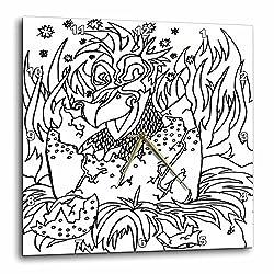 3dRose DYLAN SEIBOLD - MONOCHROME - Early Bird - 10x10 Wall Clock (dpp_262754_1)