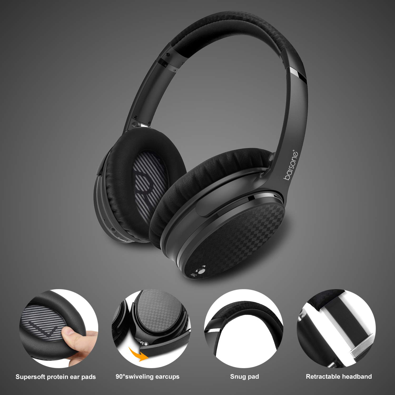 Active Noise Cancelling Headphones Bluetooth, barsone ANC Over Ear Hi-Fi Stereo Wired and Wireless Headphones with Case (Black)