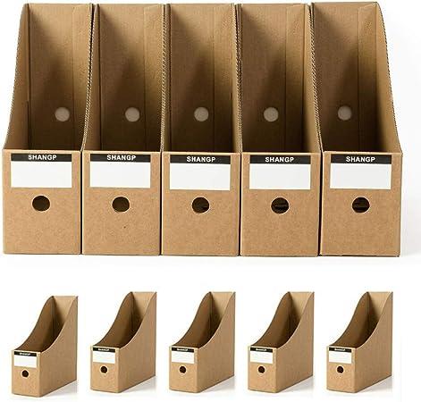 Organizador de archivos, revistas de cartón para escritorio, cajas de archivos, escritorio, papel kraft, 5 unidades Tamaño libre caqui: Amazon.es: Hogar