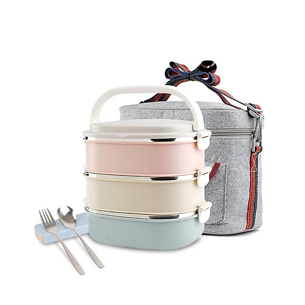 Unichart Update Stainless Steel Square Lunch Box, Lock Container Bag, Spoon and Chopsticks Set Heat/cold Insulated Kids Students for A Office Snack Food Storage Boxes (3-Tier)