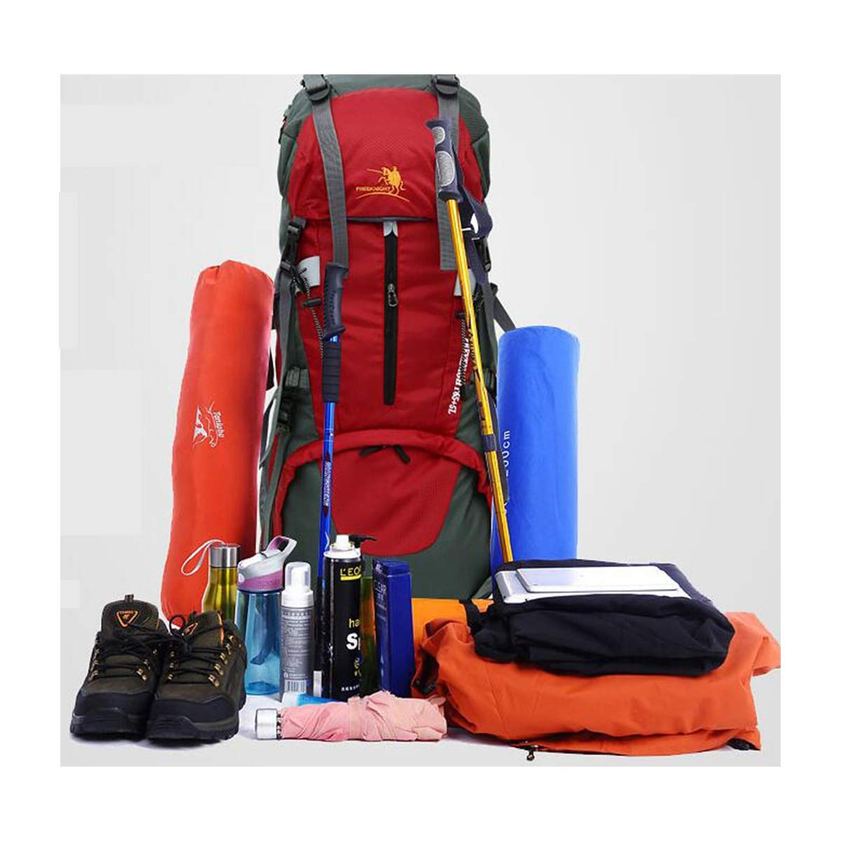 Waterproof Outdoor Mountaineering Bag Qingduqijian Backpack Internal Frame Backpack Color : Black 65+5L Large Capacity Tourist Hiking Camping Tent Bag