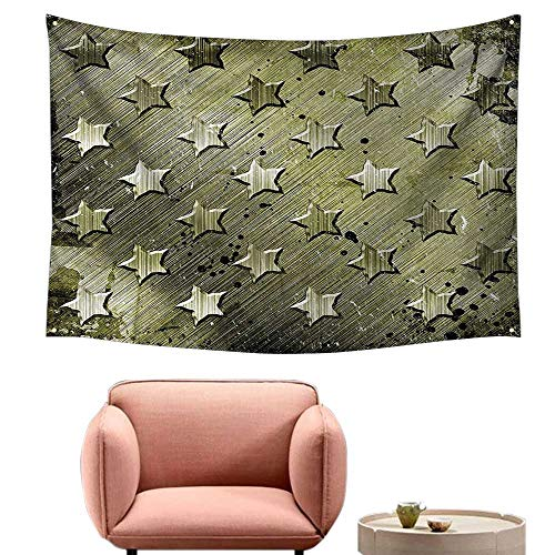 "alsohome Dorm Tapestry Wall Hanging Rectangle Tapestry for Living Room with Carving Art Style Star Patterns Marine Army Theme Industrial Deco Olive 84""X70"""
