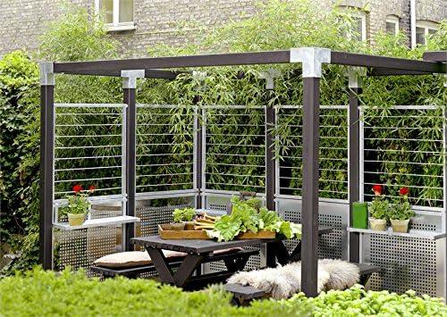 MaximaVida Cubo Cuadrado Pergola de del Paquete para Postes 12 x 12 cm, con Anclajes, fácil Pergola Construir: Amazon.es: Jardín