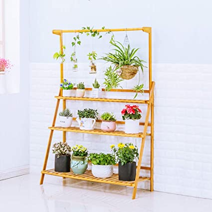 Amazon Com Moutik Bamboo Planter Pot Plants Stand Folding 3 Tier