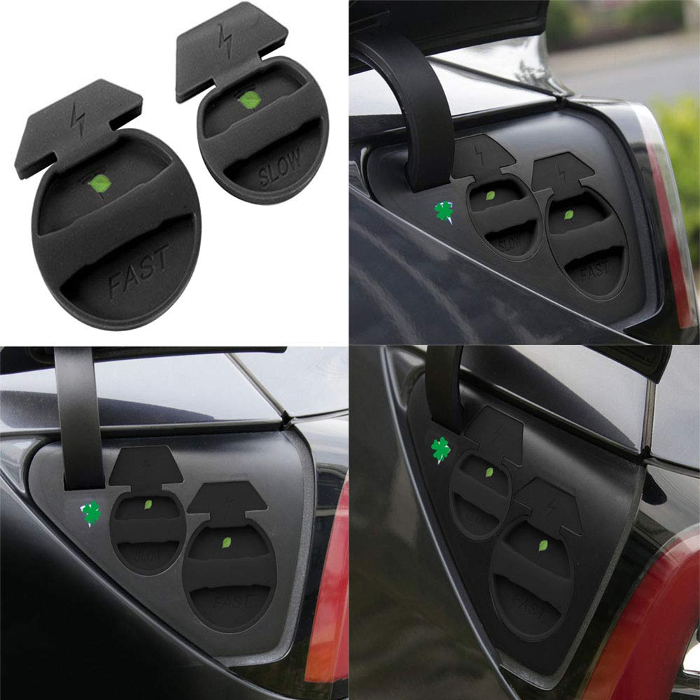 HOLDCY Tesla Charging Port Waterproof Dust Plug Protective Cover Balck Silicone Styling Decoration Accessories 2 Pcs for Tesla Model 3