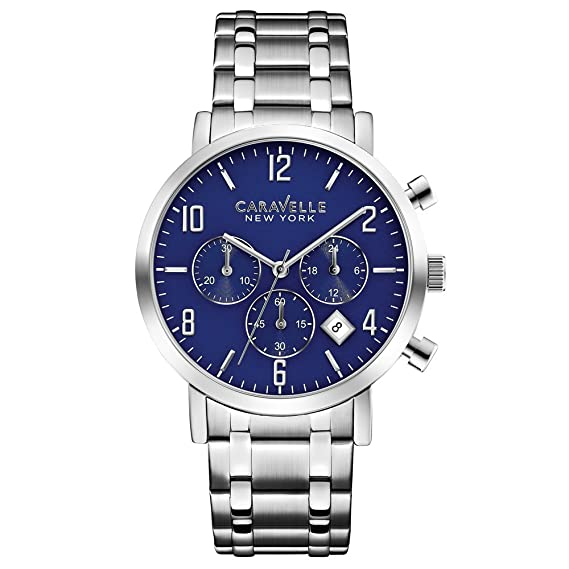 Caravelle New York 43B139 - Reloj de Cuarzo para Hombre, correa de Acero inoxidable color Plateado: Amazon.es: Relojes