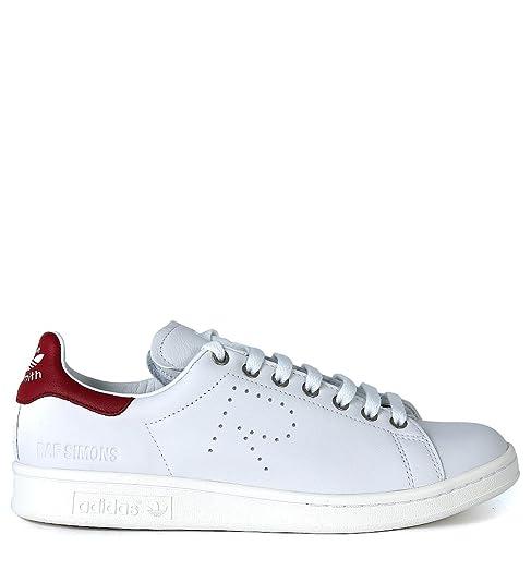 Sneaker Piel Adidas x RAF Simons Stan Smith en Piel Sneaker Blanca y Rojo Burdeos 1ff3e7