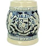 "Cobalt Blue Ceramic Shot Beer Stein Germany Bayern Coat of Arms-2.5"""
