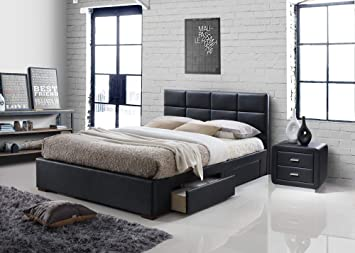 Vermont 4 Drawer Storage Leather Bed Black 4ft6 Double 5ft King Size