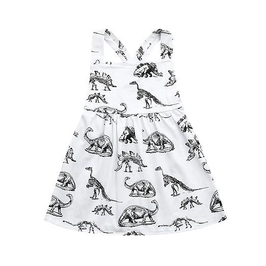 fa11c246294 Hatoys Toddler Infant Baby Girls Halter Dinosaur Print Dresses Clothing  Outfits (0-6M