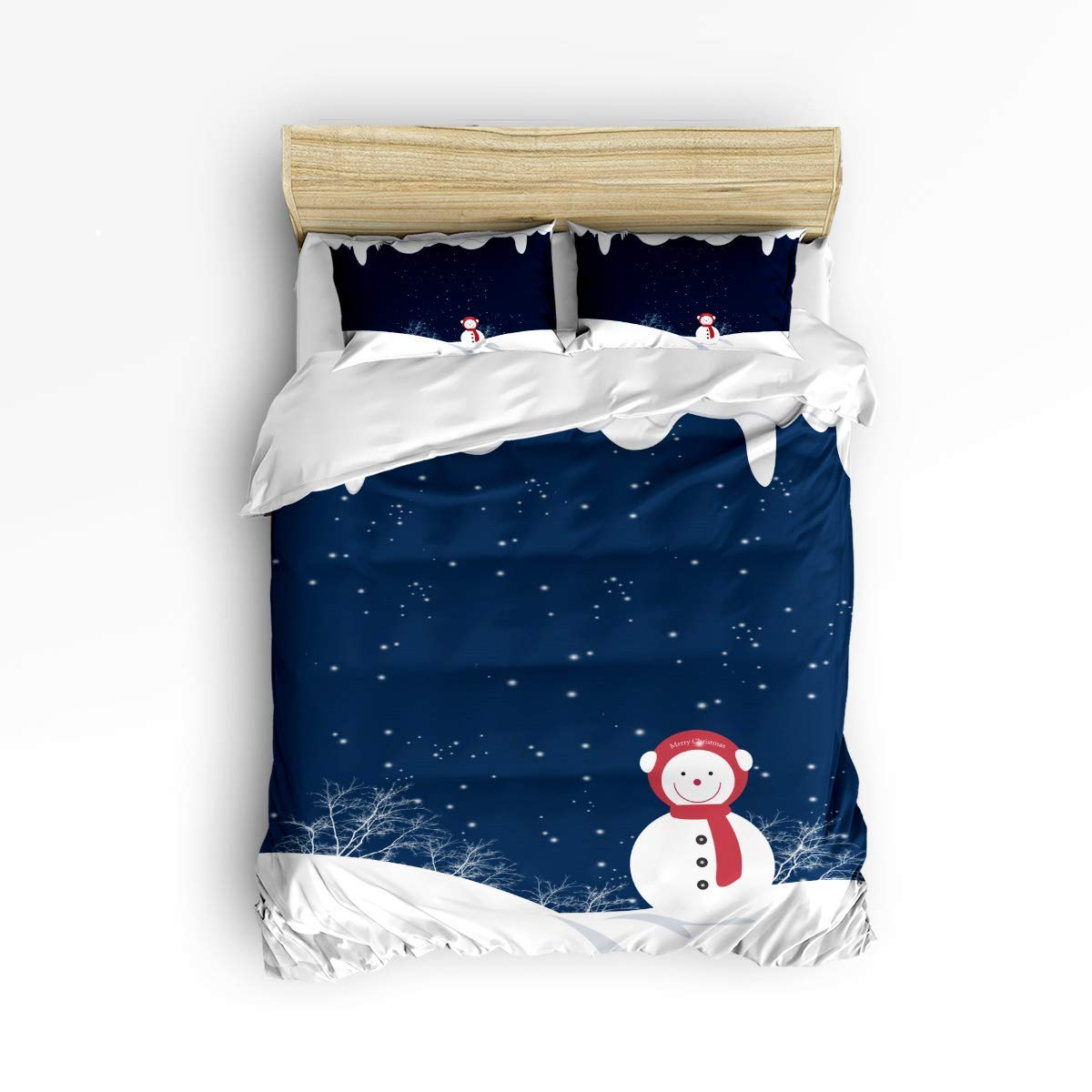 VAMIX 寝具3点セット クリスマス 雪だるま 庭 楽しい雪 星空 夜 3ピース 掛け布団カバーセット ベッドスプレッド デイベッド 子供/子供/ティーン/大人 King Size zly3pcsbeds-181022-SWTQ00372SJSDAZN B07QHV772K Snowman1azn2590 King Size