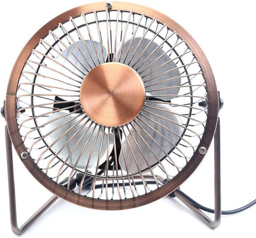 Mini USB Desktop Home Metal Fan Angle Adjustable Quiet Ventilator Summer Cooler Copper