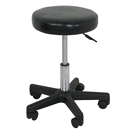 Beauty Salon Rolling Stool Tattoo Massage Facial Spa Adjustable Stool Chair (black)