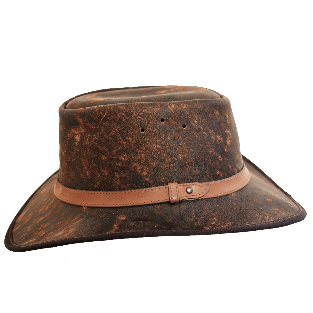 Leather Hat African Blue Wildebeest Bush Hat Hand Crafted in South Africa Cowboy//Outback//Australian//Safari Style Hat