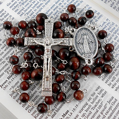 Spring Awakening Costumes (Italian Silver Plated Rosary with Red Tiger's Eye Gemstones)