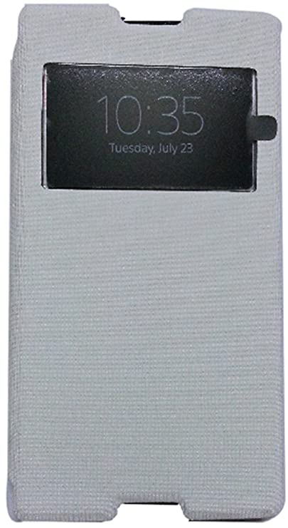 PCM S View FLIP Cover for Sony Xperia C C2305 S39H   White   Free Screen Guard Cases   Covers