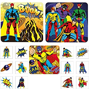 36 superhero temporary childrens kids tattoos and puzzle for Superhero temporary tattoos