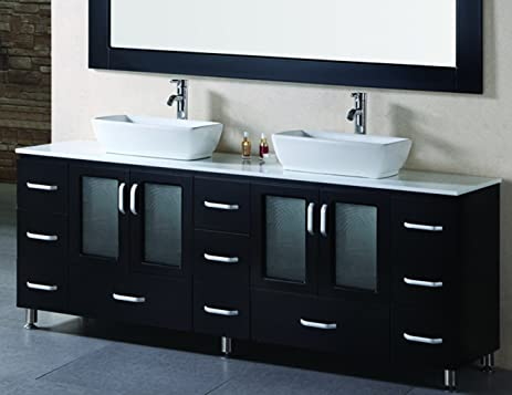 double vessel sink vanity. Design Element Stanton Double Vessel Sink Vanity Set with Espresso Finsh  72 Inch