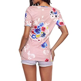 Amazon.com: Blouses for Womens, FORUU Criss Cross Front Floral Printed Tunic Casual T Shirts: Clothing