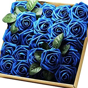 Artificial Flowers Real Touch Fake Latex Rose Flowers Home Decorations DIY for Bridal Wedding Bouquet Birthday Party Garden Floral Decor - 25 PCs 120
