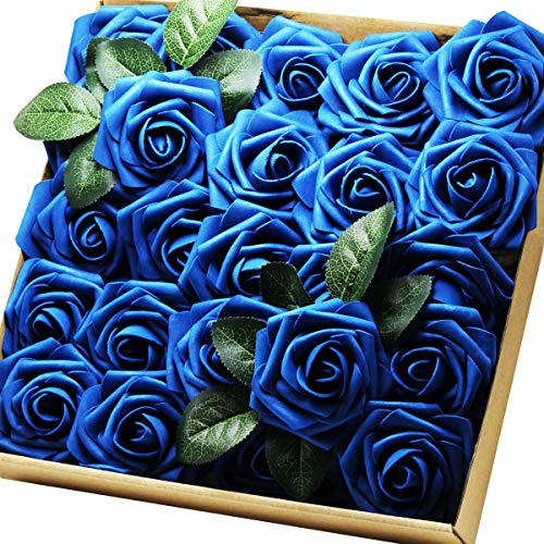 Artificial Flowers Real Touch Fake Latex Rose Flowers Home Decorations DIY for Bridal Wedding Bouquet Birthday Party Garden Floral Decor  25 PCs