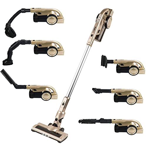 Luby Cordless Vacuum Cleaner, 2 in 1 Stick and Handheld Vacuum Cleaner Lightweight Bagless with 7 Attachments for Home, Pet Hair, Car Cleaning