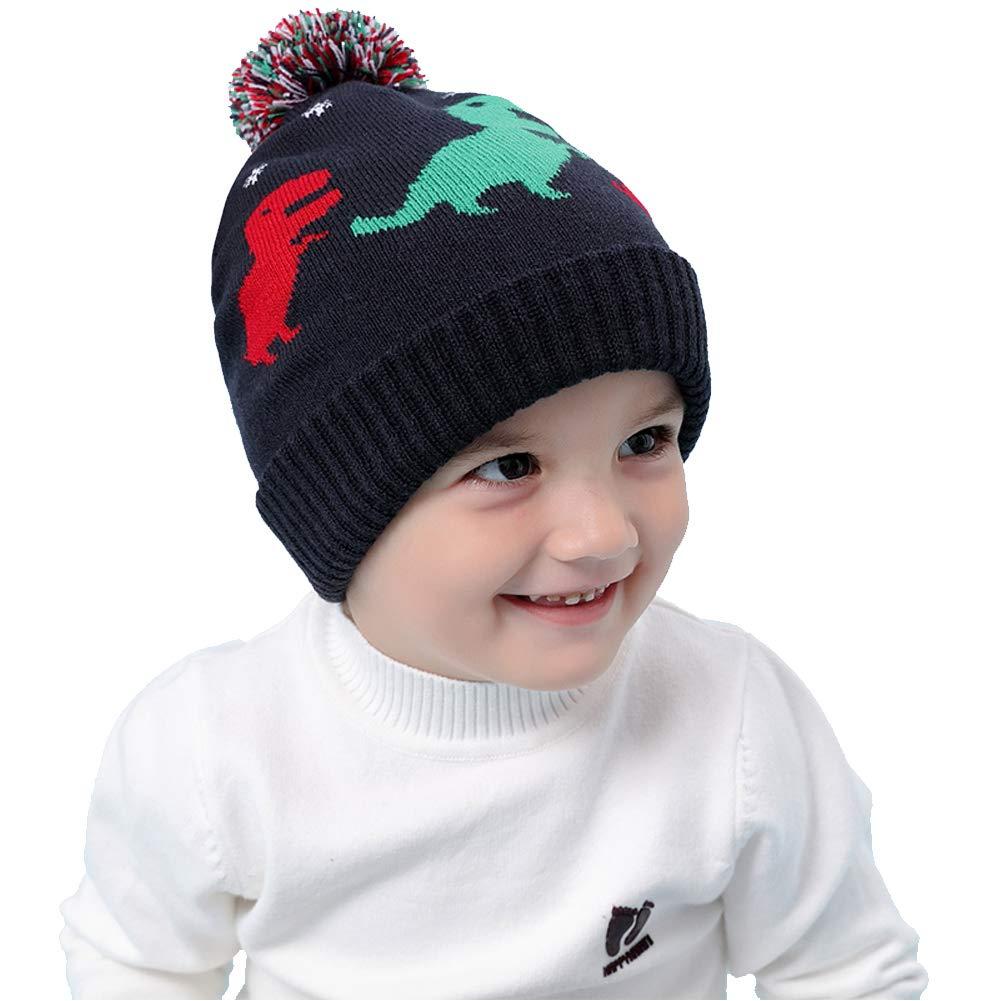 803323dfe00 Amazon.com  VAQM Baby Winter Hat Kids Beanie Hats Boys Knit Warm Caps  Toddler Pom Cartoon Dinosaur Hat for Autumn Winter (Baby Winter Hat for  Medium)  Baby