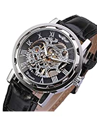 DaySeventh Men's Classic Black Leather Dial Skeleton Mechanical Sport Army Wrist Watch