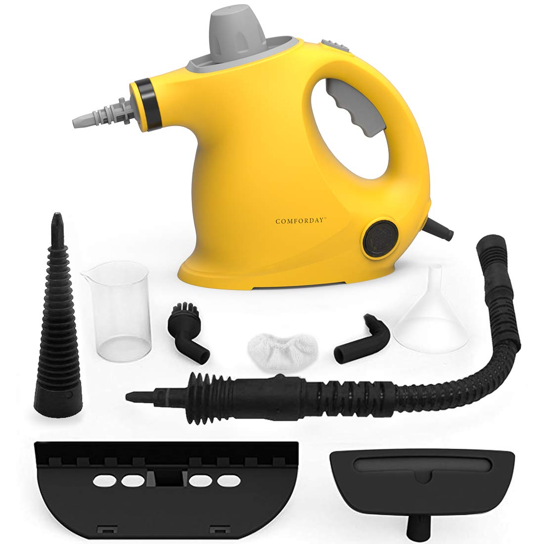 Comforday Multi-Purpose Handheld Pressurized Steam Cleaner with 9-Piece Accessories for Stain Removal, Steamer, Carpets, Curtains, Car Seats, Kitchen Surface & Much More, Yellow by Comforday