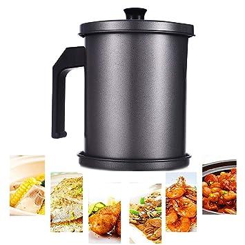 MAI&BAO Filtro Aceite Cocina Acero Inoxidable, Graseras de Cocina con Malla Fina Colador y Tapa Aceite Olla de Colador de Aceite de Acero Inoxidable