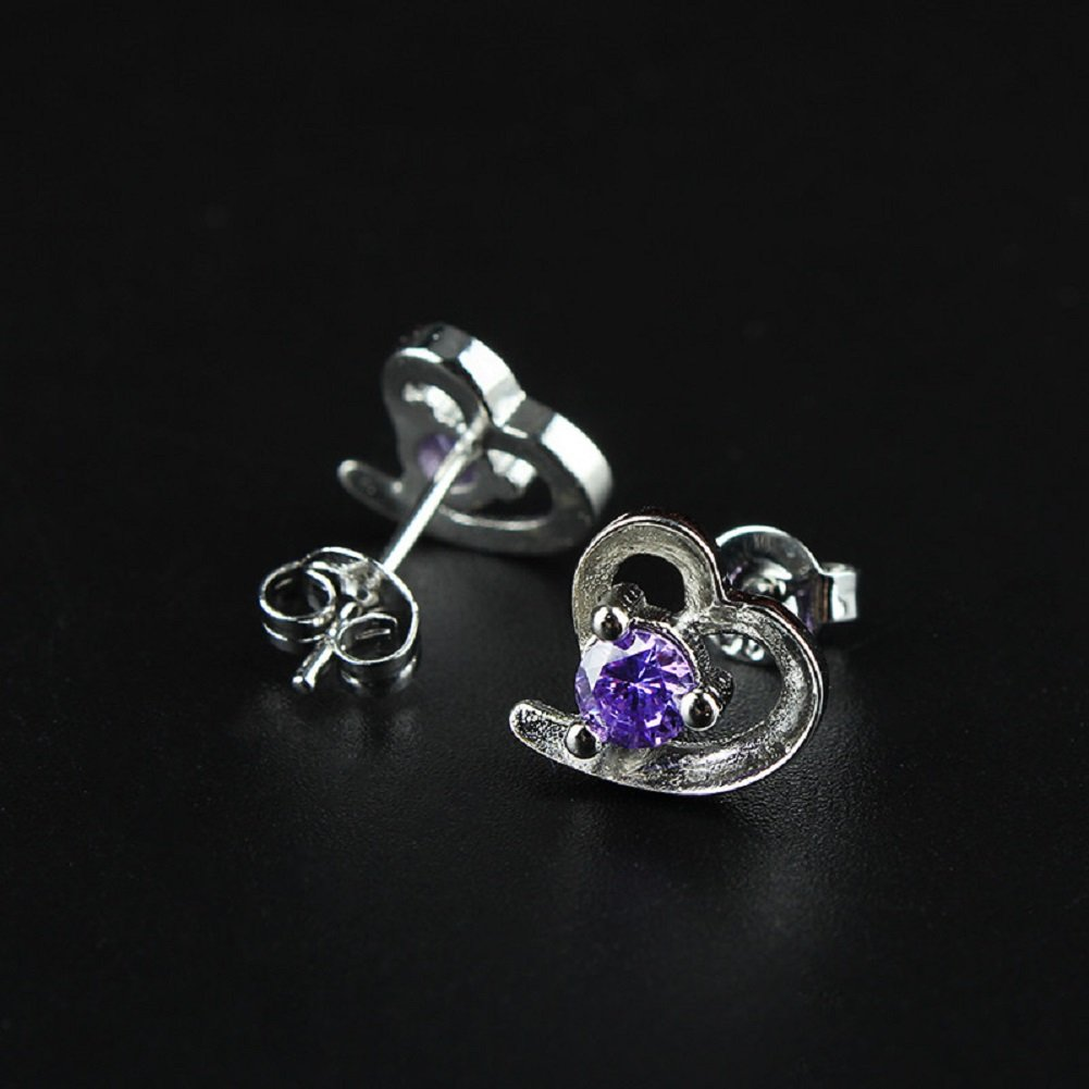 Alvade Love Purple zircon Earrings, Elegant Silver-Plated Stud Earrings Girl Jewelry by Alvade (Image #9)