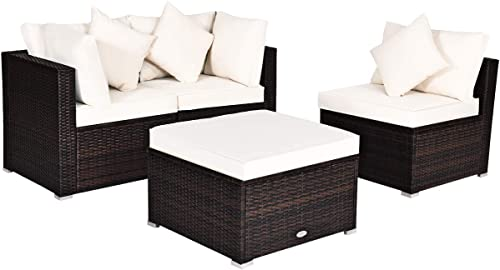 Tangkula 4 PCS Patio Rattan Sofa Set