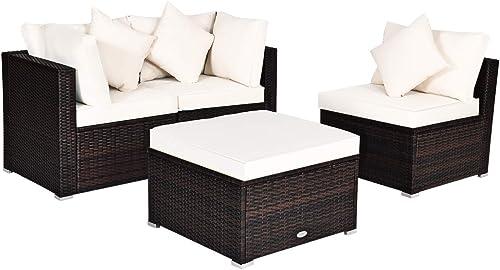 Tangkula 4 PCS Patio Rattan Sofa Set