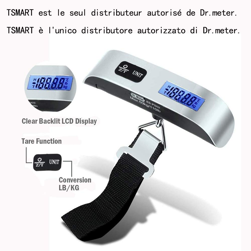 B/áscula Digital para Equipaje con pantalla LCD retroiluminada Dr.meter B/áscula Pesca Digital Balanza colgante hasta 50kg//110 lb digital cinta m/étrica y 2 pilas AAA