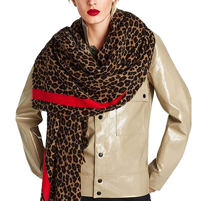 a0ce9542d77 Amazon.com: Women Shawl Scarves Leopard Cashmere Winter Scarf Wool ...