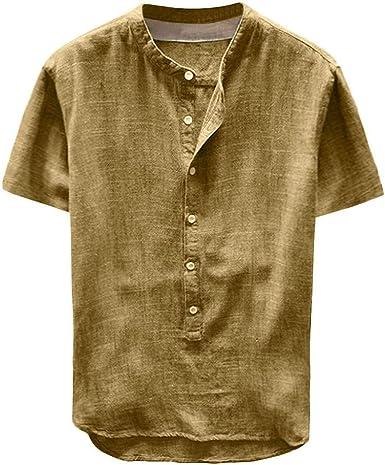 Camisa Hombre Blusa Suelta Casual Transpirable Camisas Slim fit Blusas de Trabajo Camisa Suelta de Color sólido para Hombre Camisa de algodón Abotonada para Hombre: Amazon.es: Ropa y accesorios