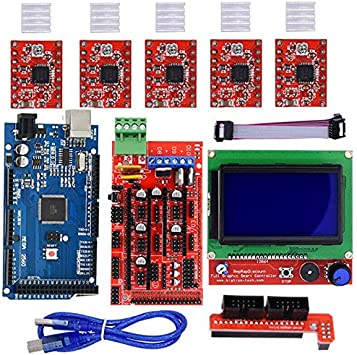 5x A4988 12864 LCD RAMPS 1.4 Set//Kit Für Arduino RepRap 3D Drucker Mega 2560