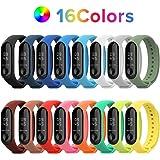 TEKER 16PCS Correas de Silicona para Xiaomi Mi Band 4 y Mi Band 3, Correas de Repuesto 16 Colores Diseño Antipérdida…