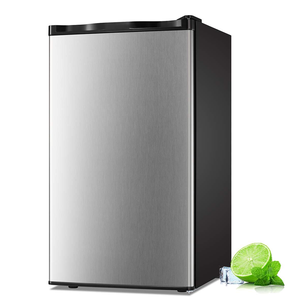 Antarctic Star Compact Mini Refrigerator Separate Freezer, Small Fridge Double Single-Door Adjustable Removable Retro Stainless Steel Shelves Garage Camper Basement/Dorm/Office 3.2 cu ft Gray